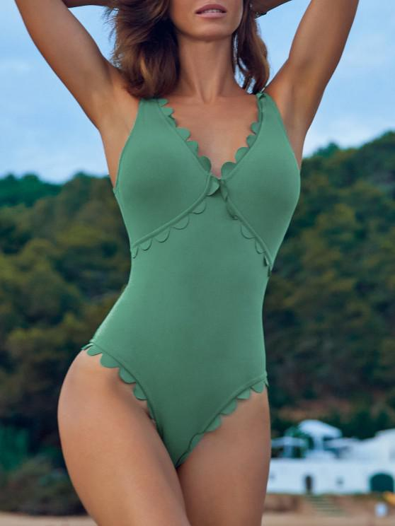 fashion ZAFUL Ribbed Scalloped Open Back One-piece Swimsuit - SEA TURTLE GREEN XL
