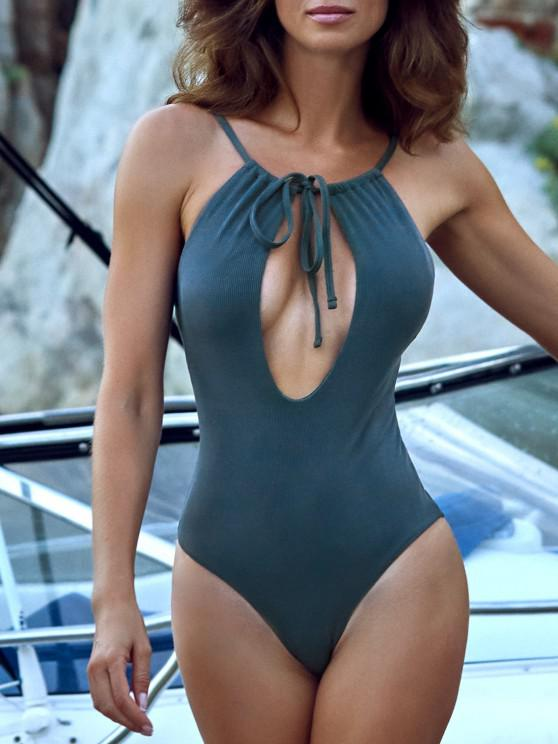 ladies ZAFUL Ribbed Tie Cutout One-piece Swimsuit - DEEP BLUE S