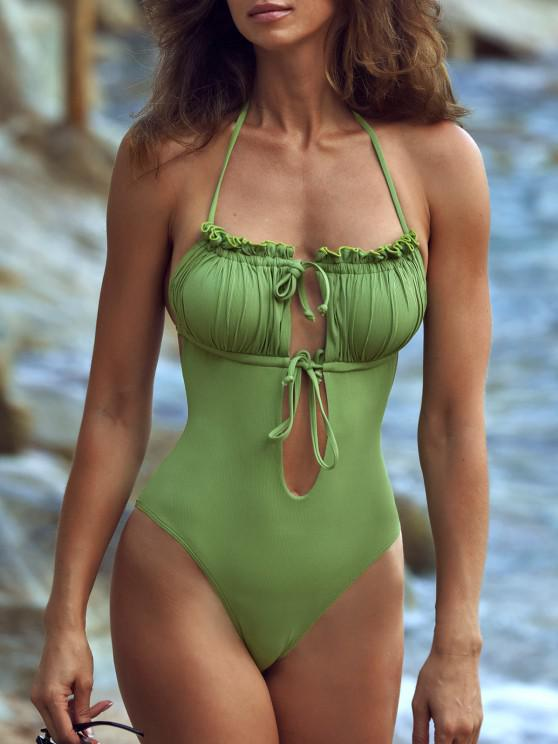outfits ZAFUL Ribbed Tie Ruched Bandeau One-piece Swimsuit - LIGHT GREEN L