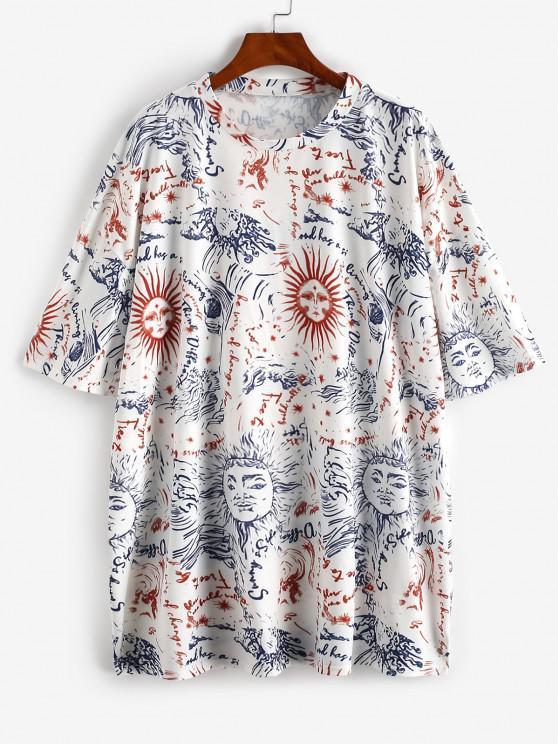 unique Drop Shoulder Suns Print Tee Dress - MULTI S