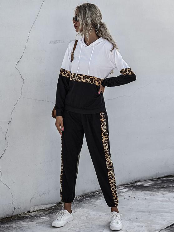 Pantalones Capucha con Cordones Insertados de Leopardo - Negro XL