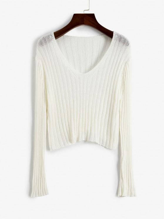 sale Knitted V Neck Crop Top - WHITE ONE SIZE