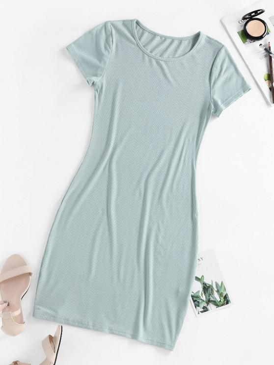 shop ZAFUL Ribbed Bodycon Mini Dress - LIGHT GREEN L