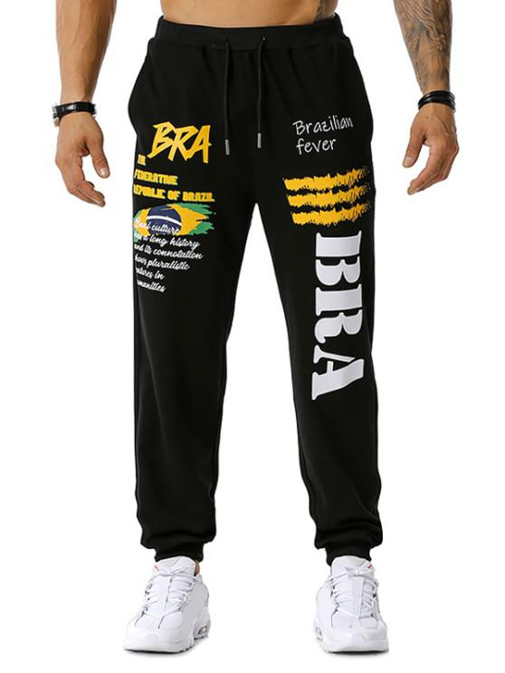 fancy Brazilian Flag Graphic Print Drawstring Sports Pants - BLACK 2XL