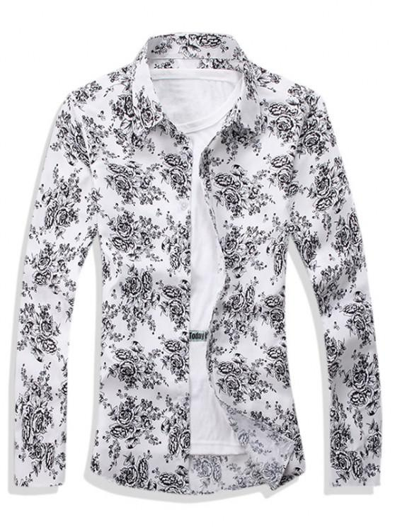 trendy Ditsy Floral Pattern Leisure Long Sleeve Shirt - WHITE S