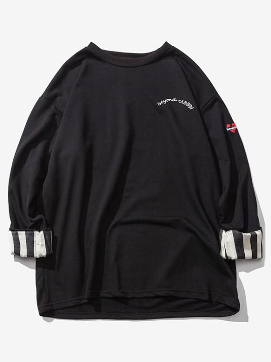 Sweat-shirt Rayé à Goutte Epaule à Manches Roulées - Noir L
