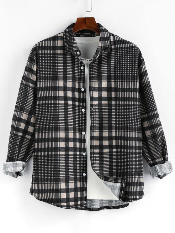 ZAFUL Plaid Long Sleeve Button Up Shirt - اللون الرمادي XL