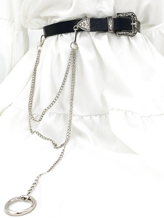 Floral Carved Buckle Chain Jeans Belt - أسود
