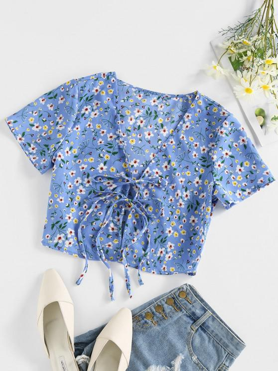 fashion ZAFUL Ditsy Print Tie Front Plunging Crop Blouse - DEEP SKY BLUE M