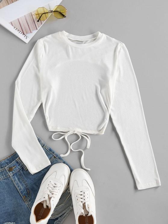 trendy ZAFUL Self Tie Open Back Knit Tee - WHITE XL