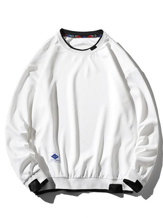 lady Letter Applique Drop Shoulder Faux Twinset Sweatshirt - WHITE 3XL