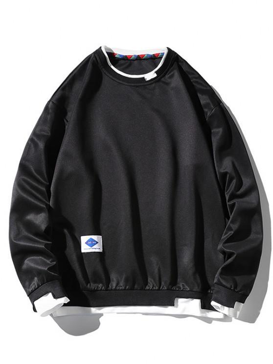 Letter Applique Drop Shoulder Faux Twinset Sweatshirt - أسود XL