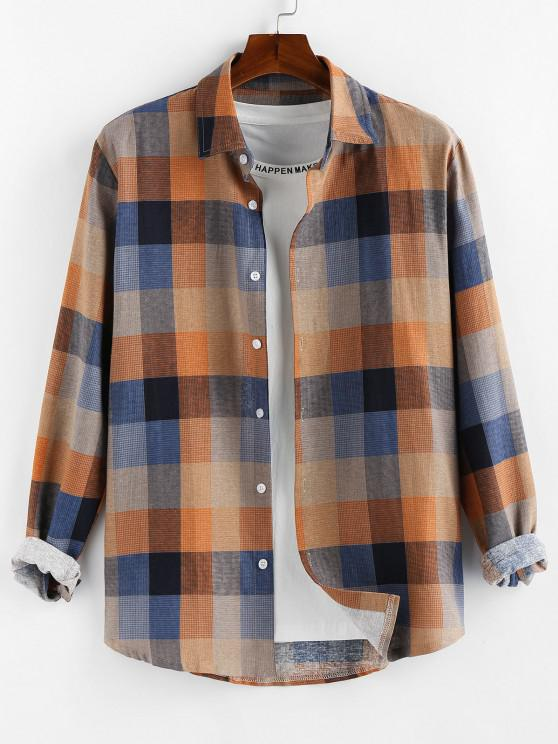 Camisa Xadrez de Mangas Compridas com Botão - Laranja claro S
