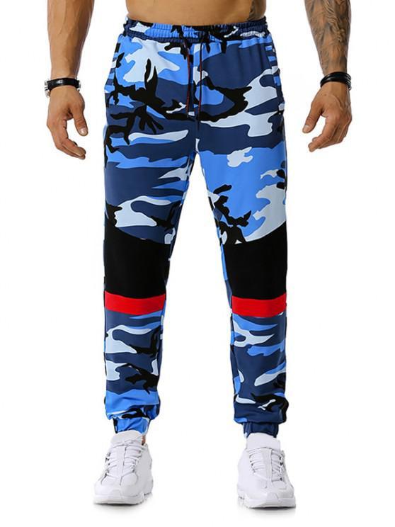 Colorblock la impresión de Camo del lazo del basculador de pantalones - Azul M
