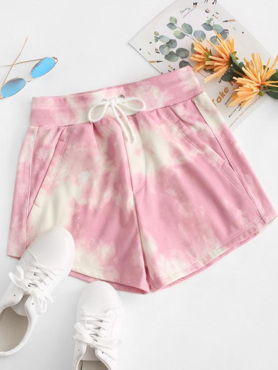 Tie Dye Fleece Lined Drawstring Shorts - زهري M