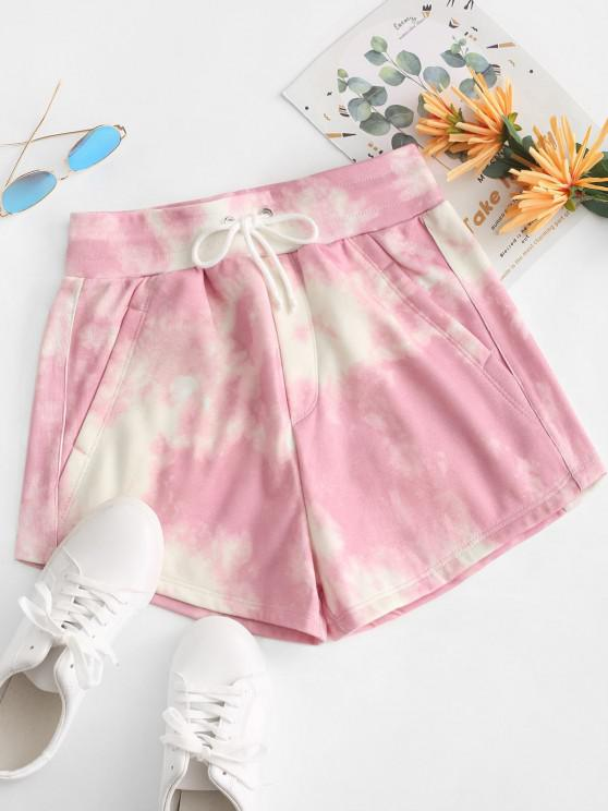 women Tie Dye Fleece Lined Drawstring Shorts - PINK L