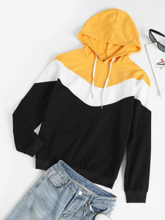 Long Sleeves Colorblock Pullover Hoodie - الأصفر M