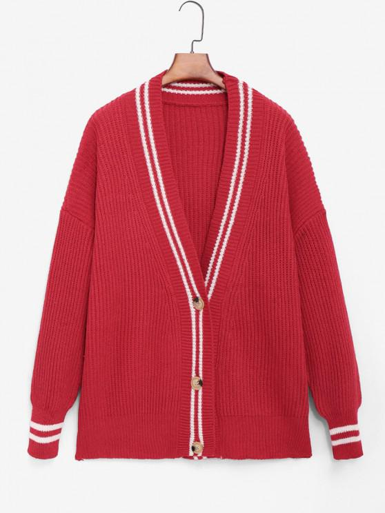 new Striped Detail Cricket Tunic Cardigan - RED ONE SIZE