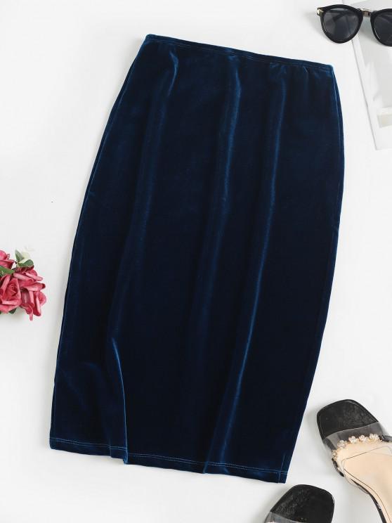 lady High Rise Velvet Slit Skirt - DEEP BLUE M