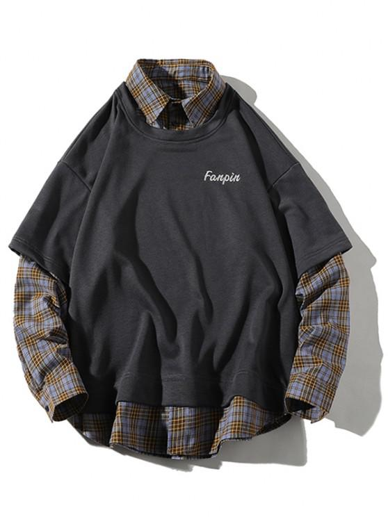 unique Drop Shoulder Plaid Panel 2 in 1 Sweatshirt - BATTLESHIP GRAY 2XL
