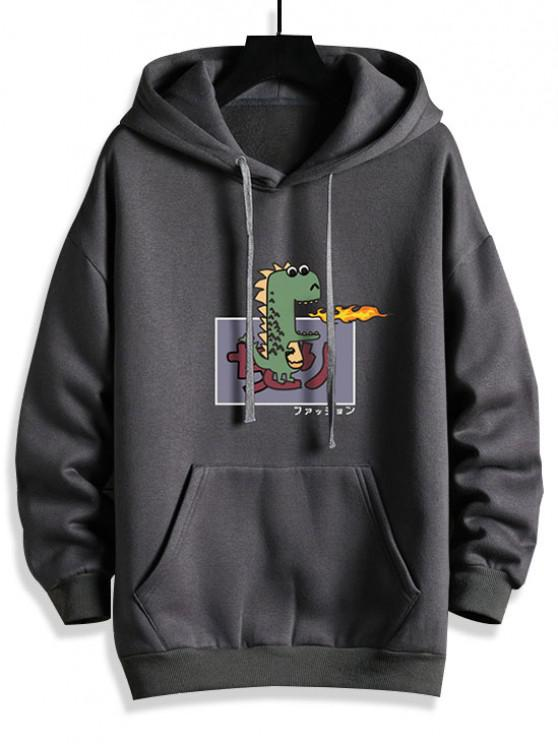 Cartoon Dinosaur Graphic Front Pocket Fleece Lined Hoodie - الرمادي الداكن 2XL
