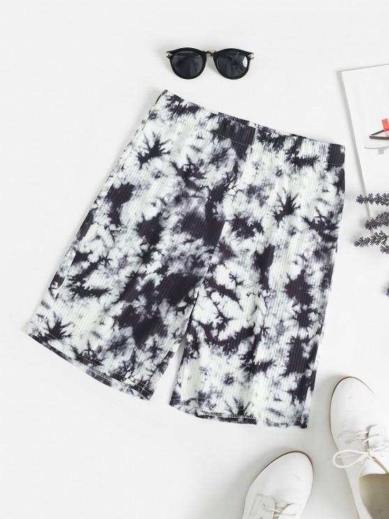 fancy High Rise Tie Dye Bike Shorts - BLACK M