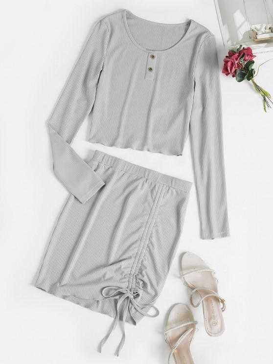 trendy ZAFUL Mock Button Cinched Ribbed Skirt Set - LIGHT GRAY L