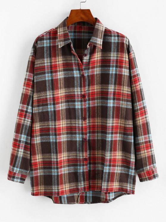 fashion Plaid Button Up Drop Shoulder Shirt - MULTI M