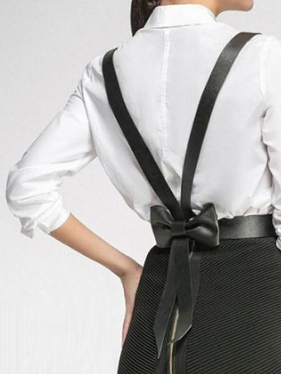 Back Bowknot Decoration Belt Suspender - أسود