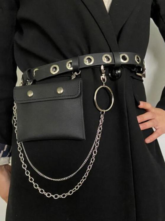 Punk Grommet Chain Removable Bag Belt - أسود