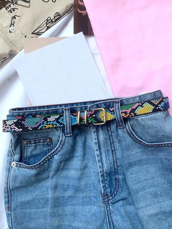 womens Snakeskin Pattern Jeans Buckle Belt - MULTI-A