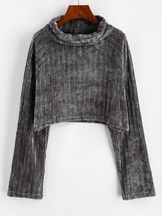 Raglan Sleeves Chenille Crop Top - اللون الرمادي L