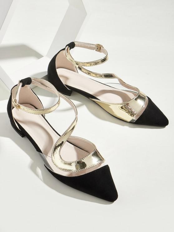 Transparent Panel Pointed Toe Ankle Strap Flat Shoes - أسود الاتحاد الأوروبي 38
