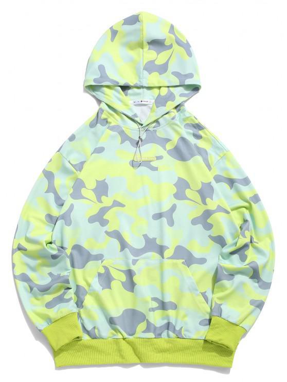 ZAFUL Camouflage Print Front Pocket Hoodie - أخضر S