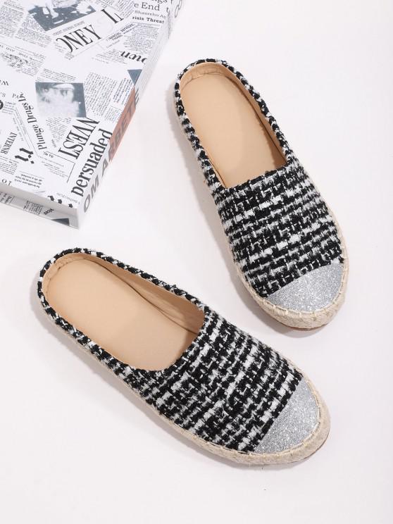 hot Shiny Toe Tweed Espadrilles Half Flat Shoes - BLACK EU 39