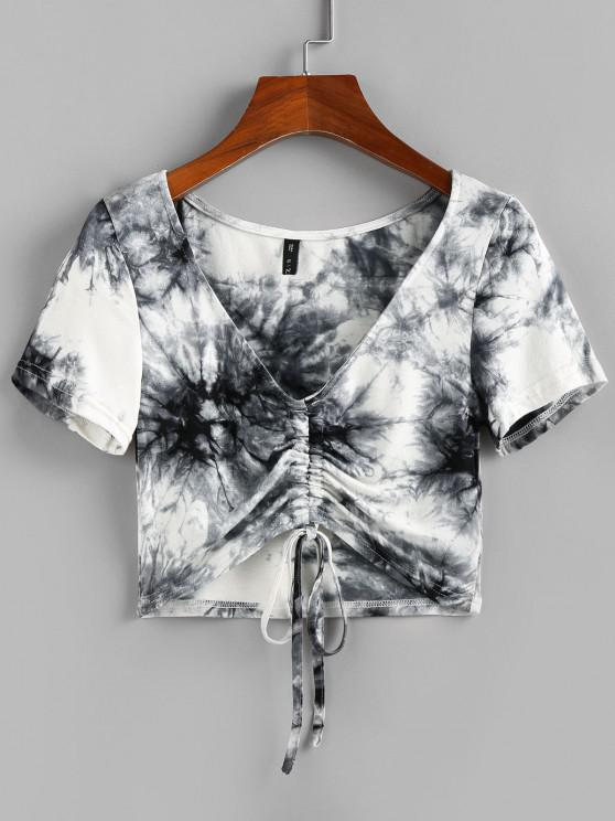 ladies ZAFUL Cinched Tie Dye Crop Tee - MULTI S