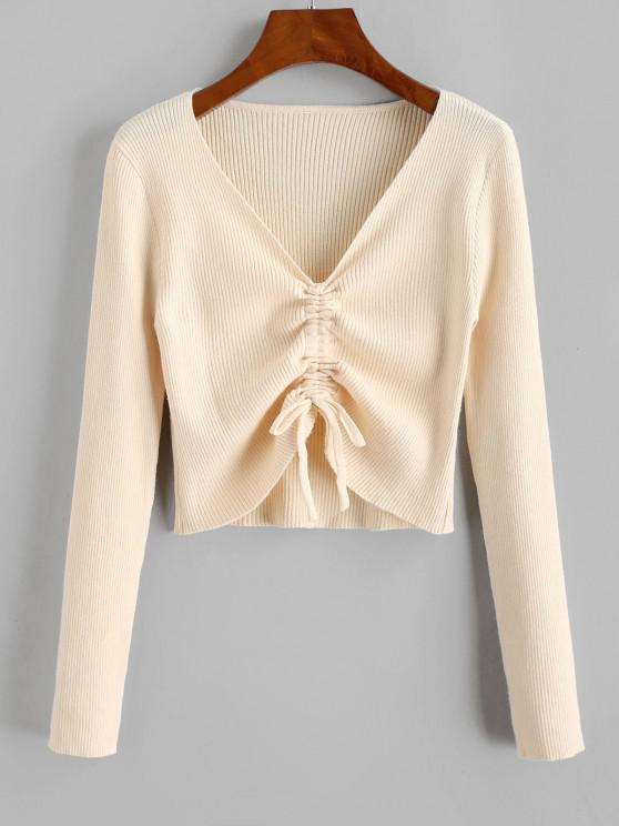 Ribbed Cinched Tie Slim Sweater - القهوة الخفيفة مقاس واحد