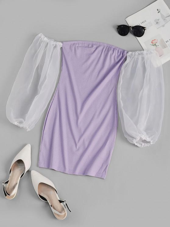 latest Organza Sleeve Ribbed Off Shoulder Dress - LIGHT PURPLE S