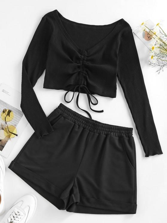 best ZAFUL Cinched Ribbed Two Piece Shorts Set - BLACK XL