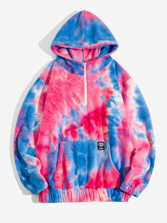 Tie Dye Pattern Letter Applique Half Zip Fleece Hoodie - وردة حمراء S