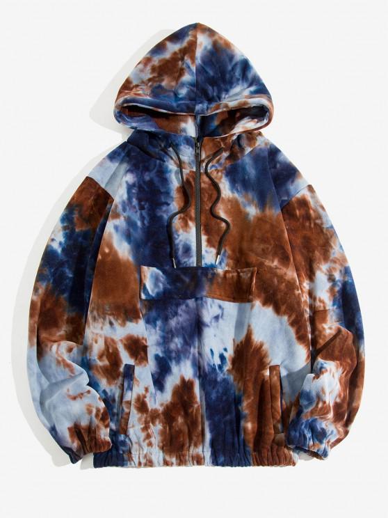 women Tie Dye Pattern Half Zip Drawstring Hoodie - DEEP COFFEE XL