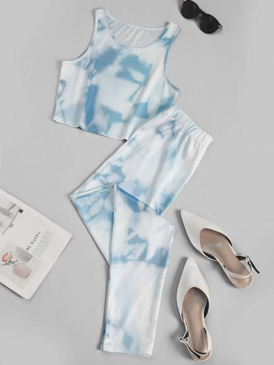 Blue Sky Crop Top and Pants Sports Suit - أزرق فاتح L