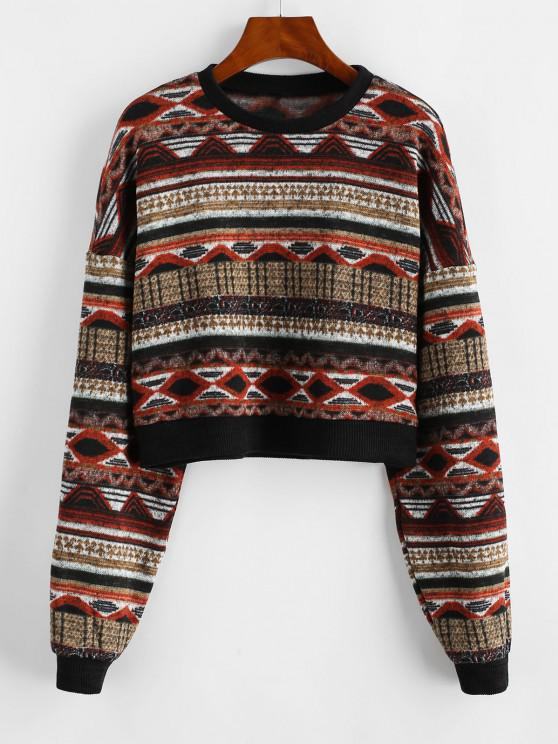 ZAFUL Drop Shoulder Crew Neck Tribal Graphic Sweater - متعدد M