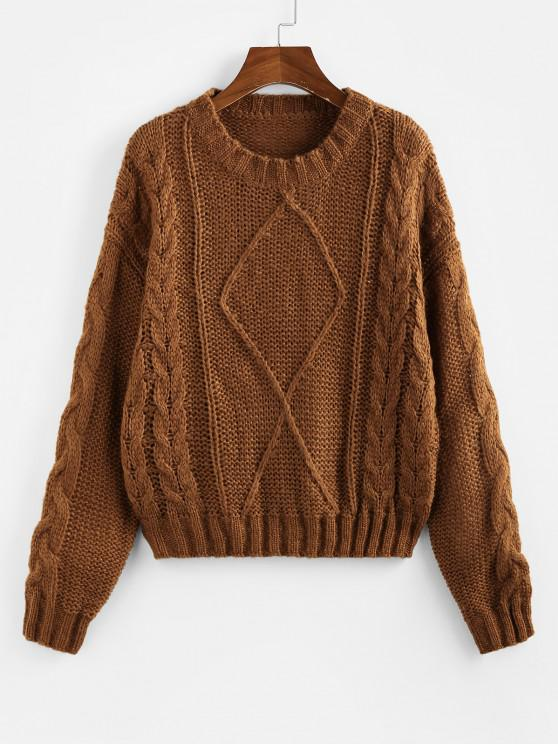 ZAFUL Cable Knit Drop Shoulder Jumper Sweater - قهوة M