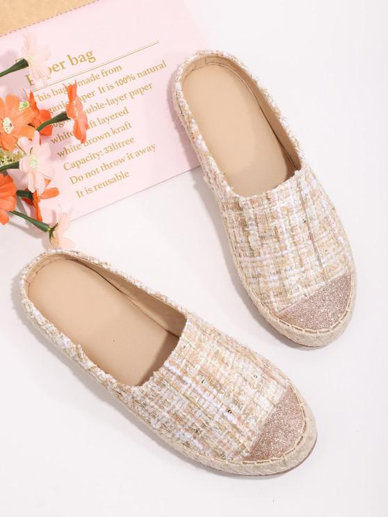 hot Shiny Toe Tweed Half Flat Shoes - SAKURA PINK EU 39