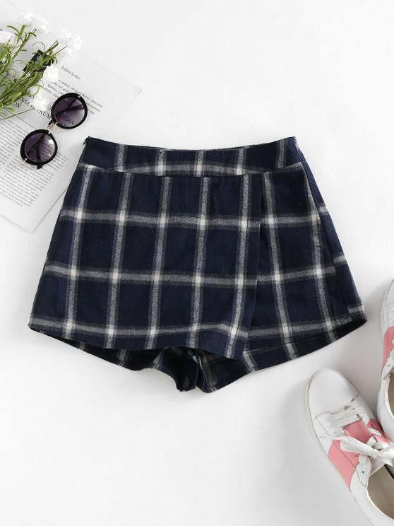 lady ZAFUL Plaid Asymmetric Skort - DARK SLATE BLUE M