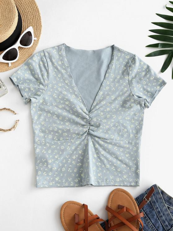 fancy Ditsy Floral Print Ruched Top - PASTEL BLUE L