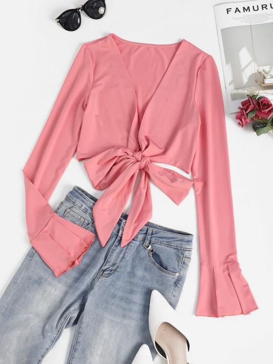 fashion Flare Sleeve Crop Wrap T-shirt - LIGHT PINK S