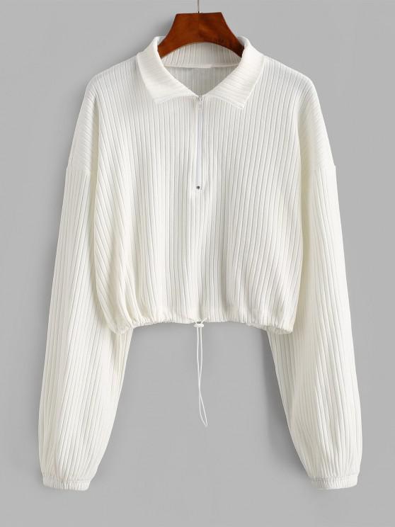 womens ZAFUL Toggle Drawstring Ribbed Half Zip Sweatshirt - WHITE XL