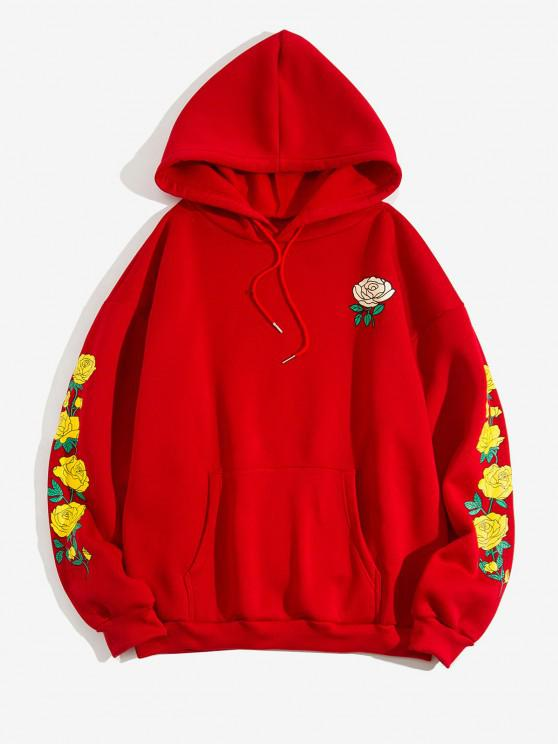 latest Flower Print Kangaroo Pocket Fleece Hoodie - RED 2XL